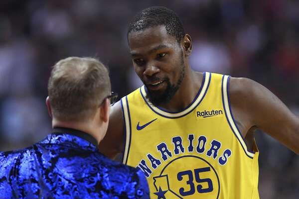 bae487c2d7fb 2of16Golden State Warriors forward Kevin Durant (35) speaks with Toronto  Raptors coach Nick Nurse during the first half of an NBA basketball game  Thursday
