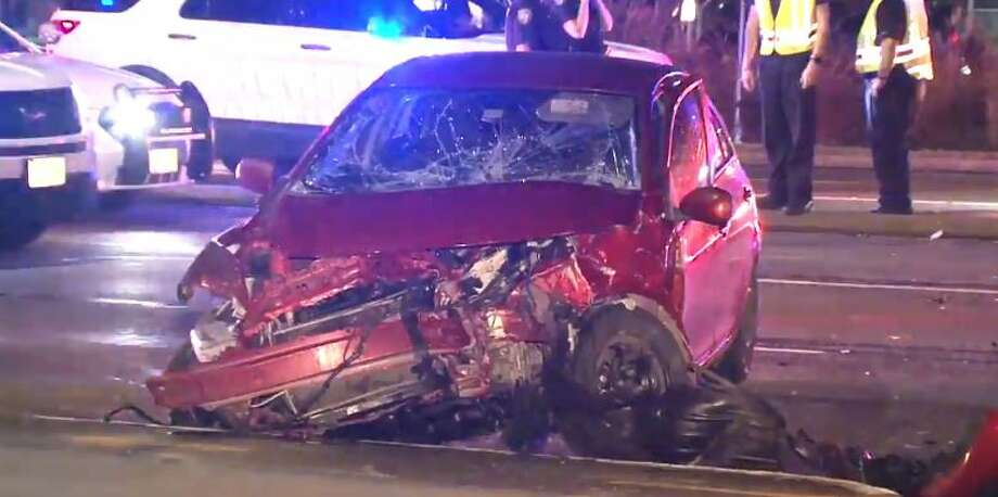Two people were hospitalized in a crash at FM 1960 and Fallbrook on Thursday, Nov. 29, 2018. Photo: Metro Video