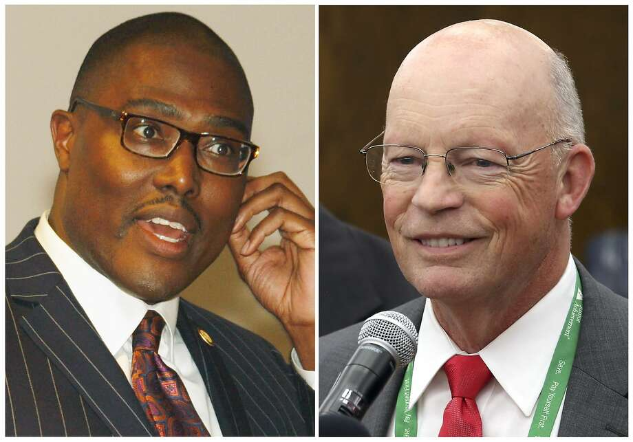 This combination of photos shows candidates for mayor of Little Rock, Ark., from left, Frank Scott and Baker Kurrus. Six decades after it was the center of a school desegregation fight, Little Rock may be on the verge of electing its first African-American mayor. Scott, a banking executive, is poised to break that barrier in the Dec. 4, 2018, runoff election against Kurrus, an attorney and businessman, in the race for the nonpartisan seat. (The Arkansas Democrat-Gazette via AP) Photo: Associated Press