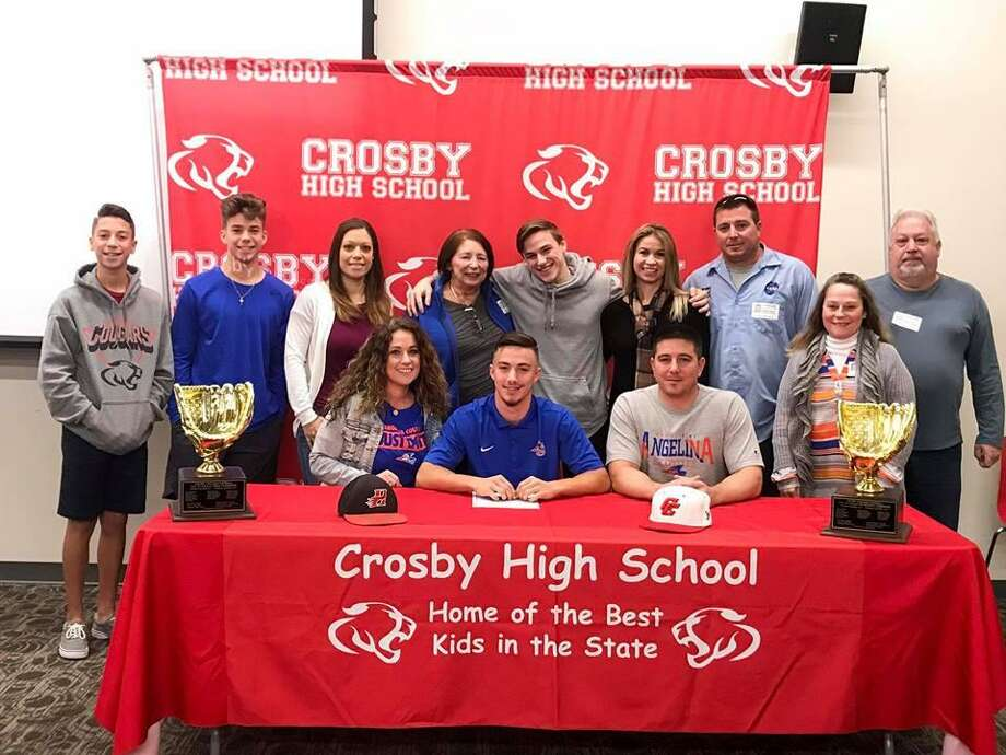 Crosby's Ethan Aloma signs his National Letter of Intent to play baseball at Angelina College Photo: Cesar Rosales Twitter