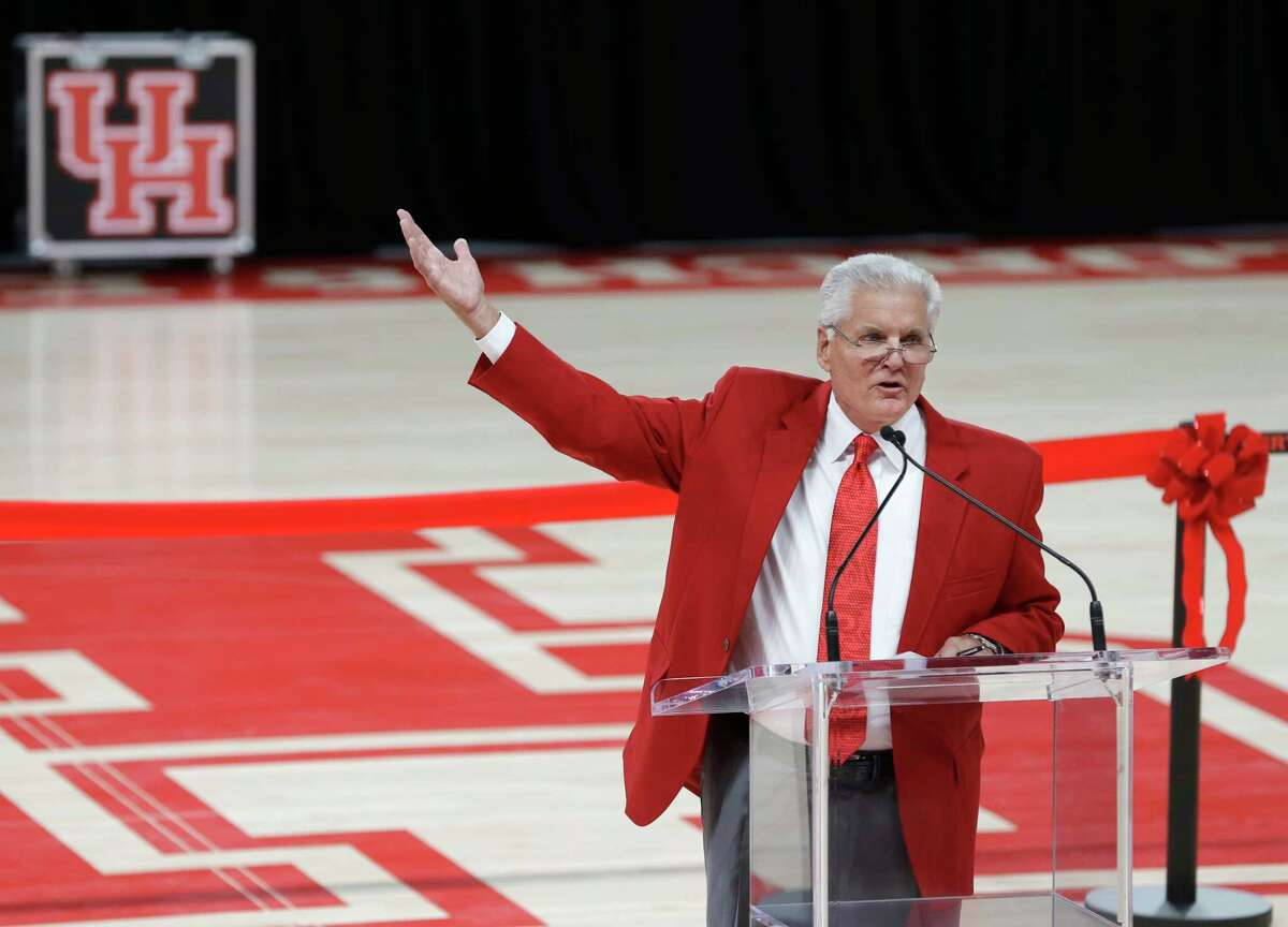 Bill Worrell, pictured at the Fertitta Center opening in 2018, will remain on Rockets broadcasts in a contributor role. His last game doing play-by-play will be Friday's home finale.