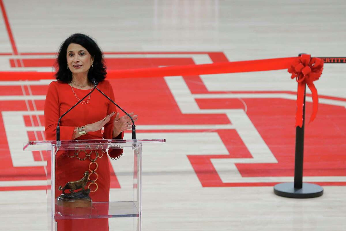 Renu Khator, University of Houston president, speaks during the opening celebration of the Fertitta Center at the University of Houston Thursday, Nov. 29, 2018, in Houston.