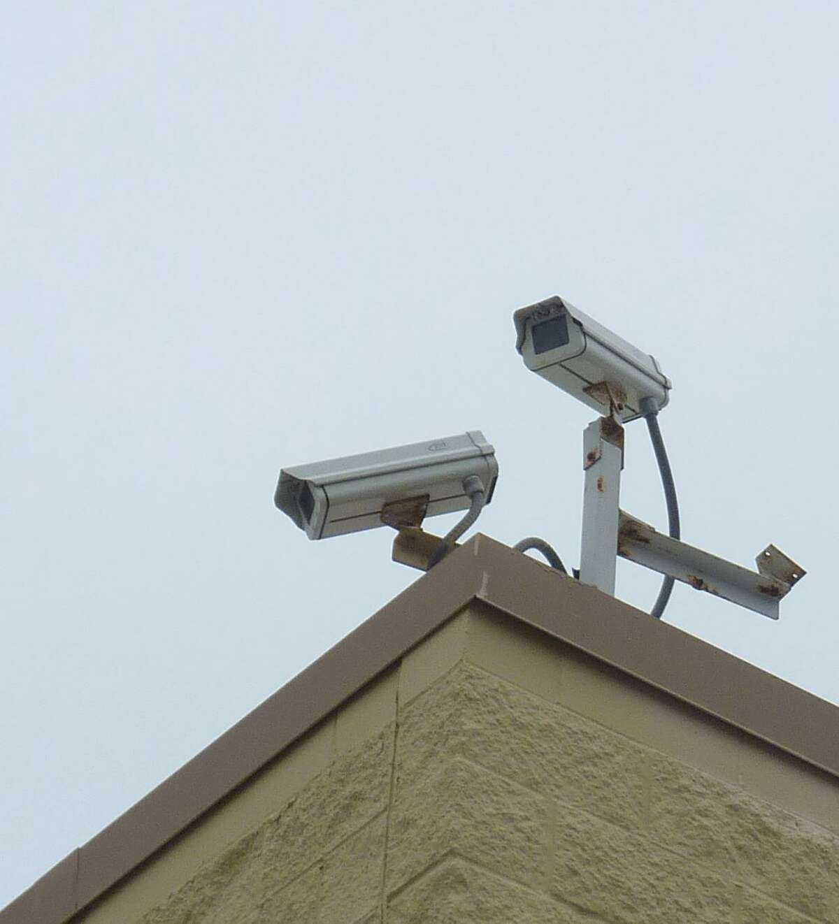 New Homeland Security surveillance cameras will be installed around The Woodlands by the end of March, according to officials with the Montgomery County Office of Homeland Security. The cameras, similar to these shown at a local Walmart, will be used to monitor special events and will record only photographic images, not sound.