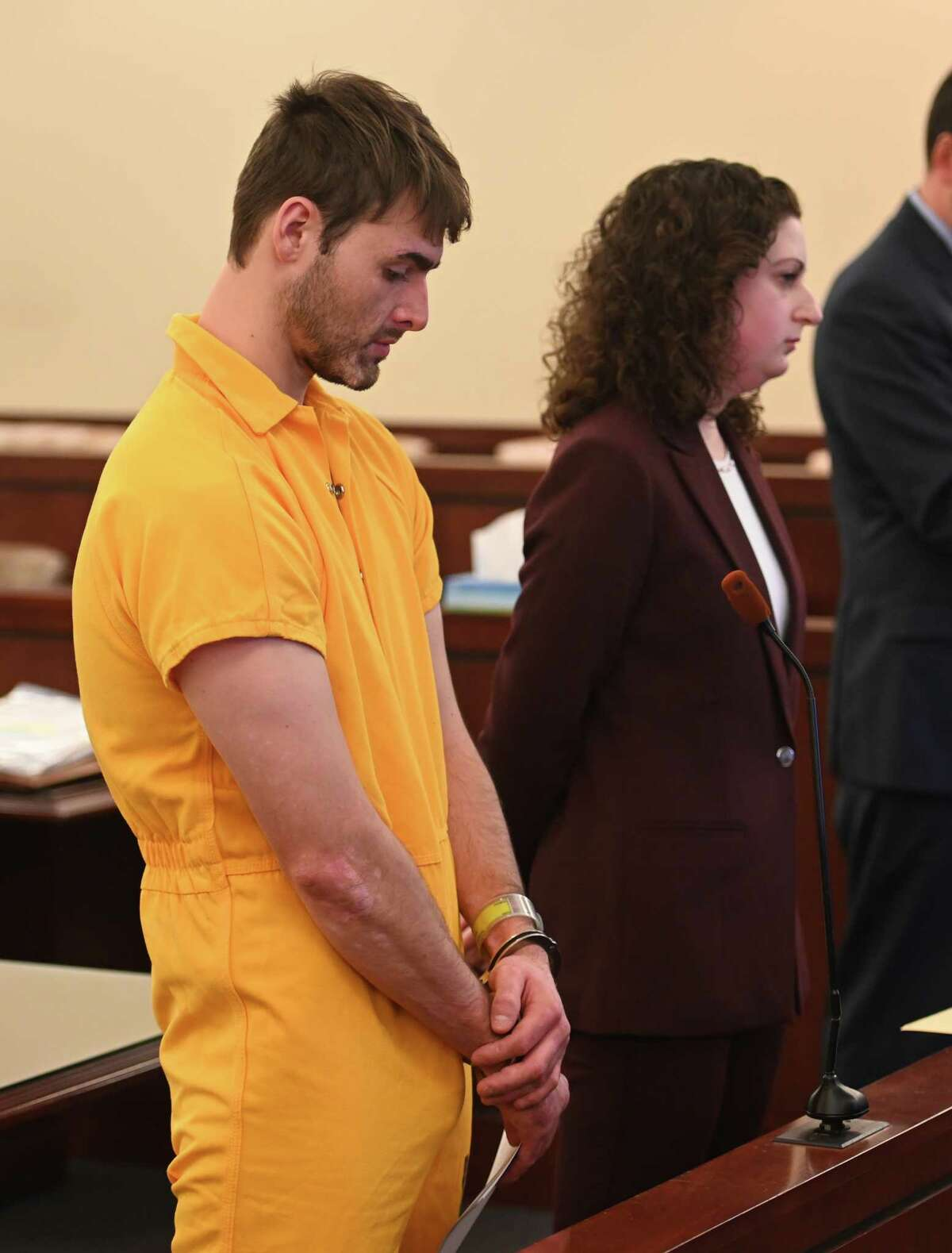Thomas Slivienski, left, was arraigned in front of Judge Peter Lynch for the alleged murder of John Dunia in Cohoes Friday Nov. 30, 2018 at the Albany County Judicial Center in Albany, N.Y. Representing Slivienski was Rebekah Sokol, Right. (Skip Dickstein/Times Union)