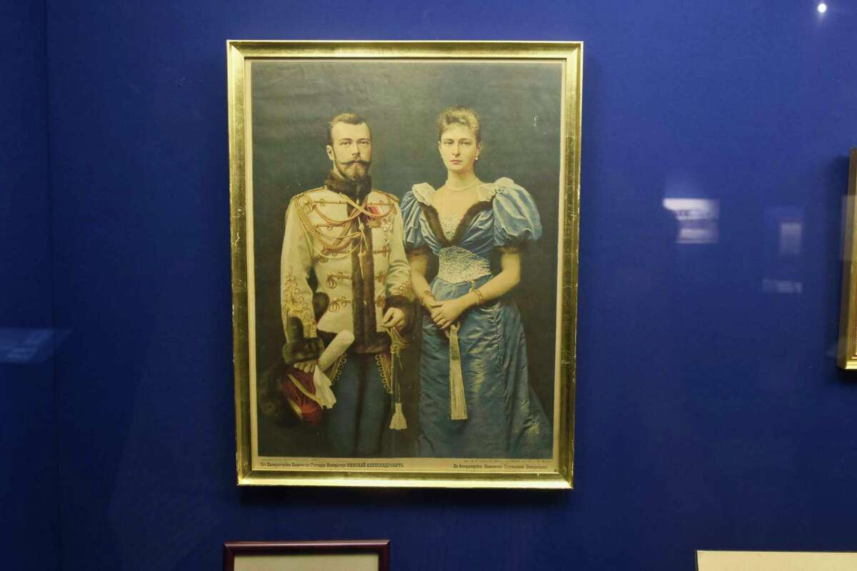 A portrait depicts Nicholas II and his wife Alexandra a year before they were crowned Tsar and Tsaritsa. This is part of the exhibit, Last Days of the Last Tsar, currently on display, at the Holy Trinity Monastery and Seminary and Russian History Foundation, seen here on Wednesday, Oct. 10, 2018, in Jordanville, N.Y. (Paul Buckowski/Times Union)