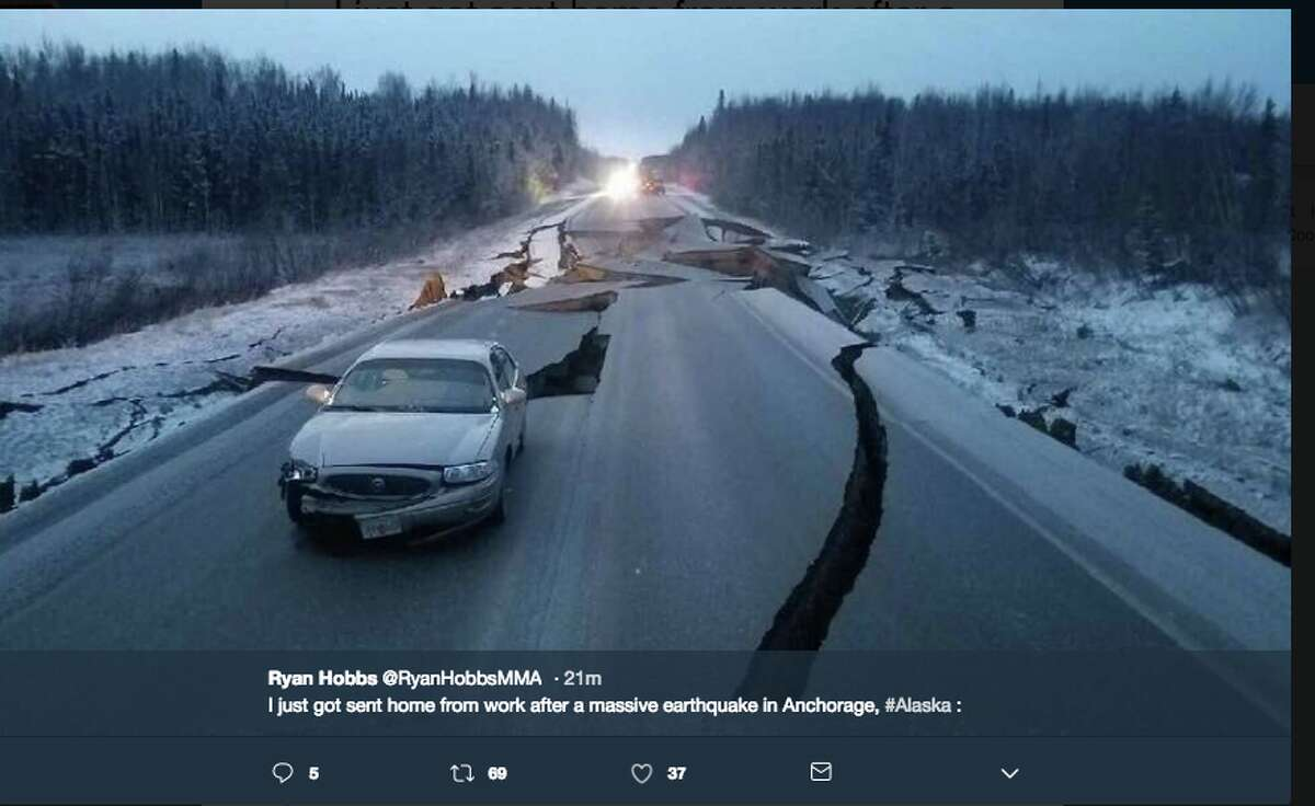 Pictures shared on Twitter of damage caused by the 7.0-magnitude quake that shook Anchorage, Alaska.