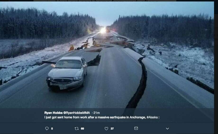 Pictures shared on Twitter of damage caused by the 7.0-magnitude quake that shook Anchorage, Alaska. Photo: Screenshot / Twitter