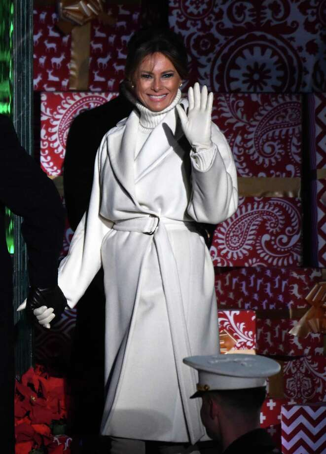 First Lady Melania Trump attends the 96th annual National Christmas Tree Lighting held by the National Park Service at the White House Ellipse in Washington, D.C., Wednesday. Photo: Olivier Douliery / TNS / Abaca Press
