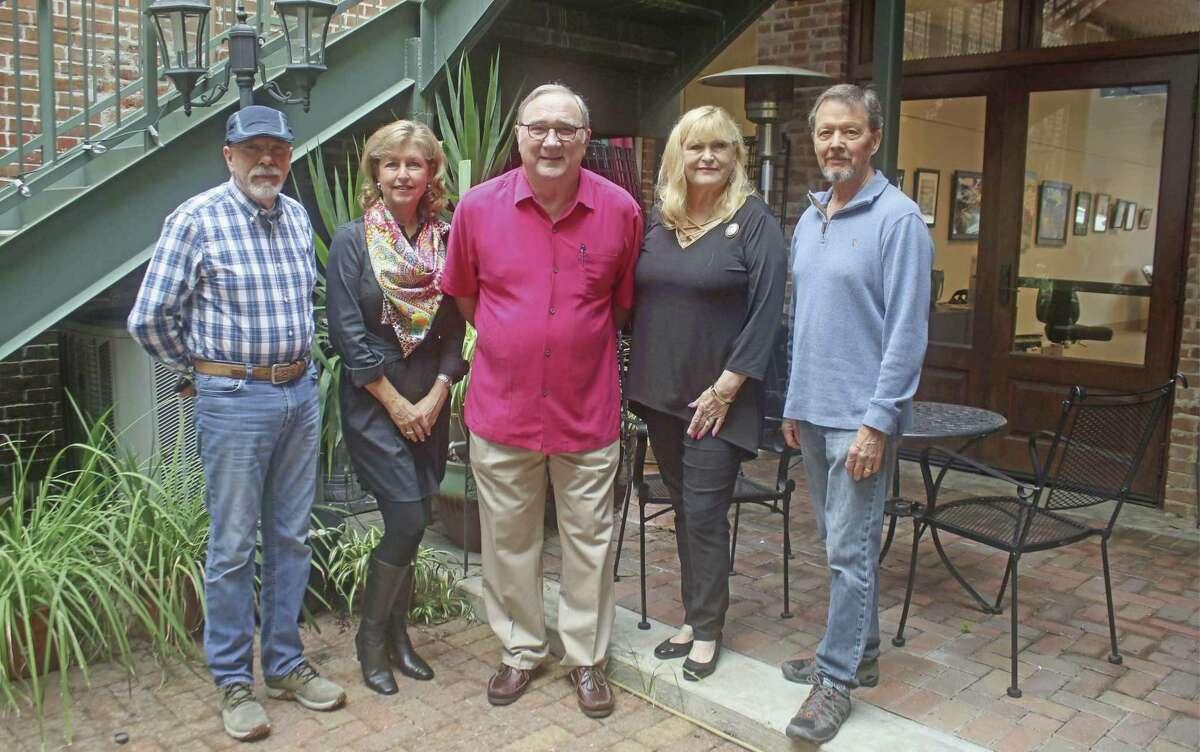 The Houston Area Oil Painters of America include, left to right, Juan Cantavella, Debra Riley, Beau Crump, Lois Blackburne and Tom LaRock.