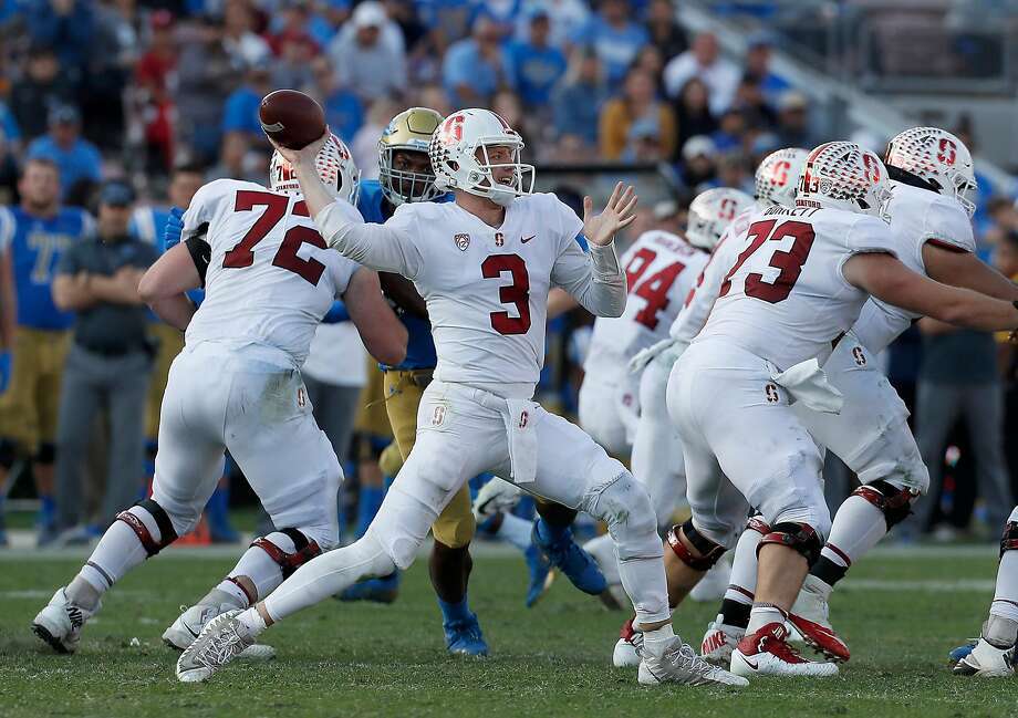 Stanford quarterback K.J. Costello (3) throws from the pocket against UCLA in the third quarter at the Rose Bowl in Pasadena, Calif., on Saturday, Nov. 24, 2018. Photo: Luis Sinco / TNS