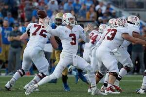 Stanford quarterback K.J. Costello (3) throws from the pocket against UCLA in the third quarter at the Rose Bowl in Pasadena, Calif., on Saturday, Nov. 24, 2018. Stanford won, 49-42. (Luis Sinco/Los Angeles Times/TNS)