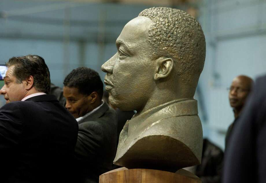 On the 50th anniversary of the assassination of Martin Luther King, Jr., a bust of him was unveiled during a ceremony at the Ansonia Armory in Ansonia, Conn., on Thursday Dec. 28, 2017. The bust was created by Ansonia resident Vasil Rakaj. Photo: Christian Abraham / Hearst Connecticut Media / Connecticut Post