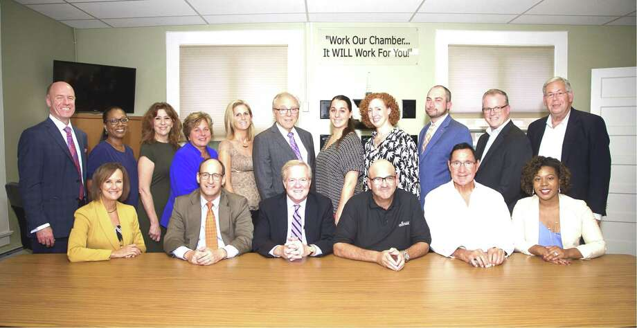 CHAMBER BOARD, SPONSORS: The Quinnipiac Chamber has announced its 2018/2019 board members and corporate sponsors. Board members pictured top row from left, are Andrew Metzger, MidState Medical Center; Wanda Lary, Workforce Alliance; Maria Philips, WQUN 1220 AM; Kristie Dammling, TD Bank; Elizabeth Griswold, Quinnipiac University; Robert Davidson, RP Design Web Services; Brittany Barbaro, Choate Rosemary Hall; Sally Darrow, Wallingford Family YMCA; Sean Doyle, Key Bank; Shawn Palmer, Record Journal; and Rich LoPresti, North Haven Economic Commission. Bottom row, from left, Dee Prior-Nesti, Quinnipiac Chamber executive director; Dominic Scarano, treasurer, Bailey Scarano; Tom Curtin, chairman, Ulbrich Stainless Steels; Frank DiCristina, vice chairman, Allnex Inc.; attorney John Mezzanotte, legal counsel; and Linzi Bell, Hilton Garden Inn. Missing from photo are Garrett Sheehan, president, Quinnipiac and Greater New Haven Chamber; David Gould, secretary, The Gould Insurance Group; Tara Knapp, rep at large, Gaylord Specialty Healthcare; Tim Keogh, rep at large, Image360; Kevin O'Rourke, Fish Window Cleaning; Karen Clarke, Karen Clarke Consulting; Tracy Guyette, Nucor Steel CT; John McGuire, Ferguson & McGuire Insurance; Mollie Medico, BYK USA; Evelyn Rossetti-Ryan, ACES; Alan Zakrzewski, Masonicare, Ex-Officios; Paul Mayer, The Schegg Group; Jon Paul Venoit, Masonicare; and Tim Ryan, Wallingford Economic Commission. Photo: Contributed Photo /