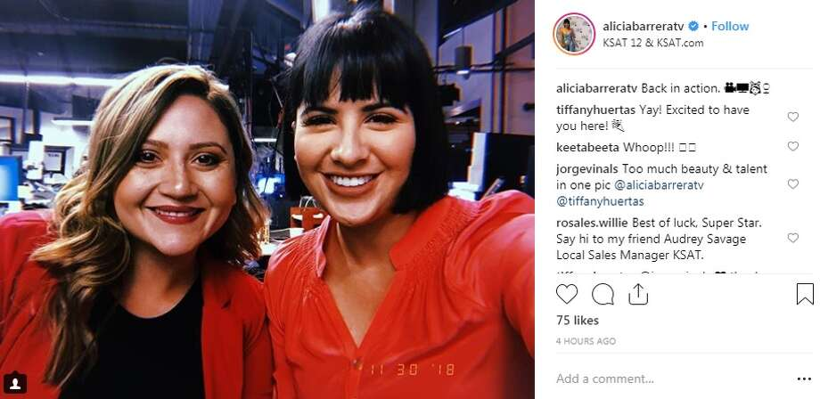 Alicia is welcomed by her KSAT family, saying she is back in action. Photo: Instagram Screenshot