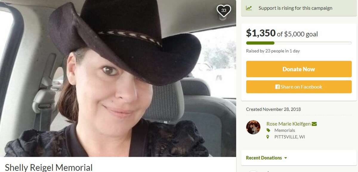 Shelly Marie Reigel, 39, died after falling out of a car on Northeast Drive, about seven miles southeast of Bandera. Her mother has set up a GoFundMe for her.