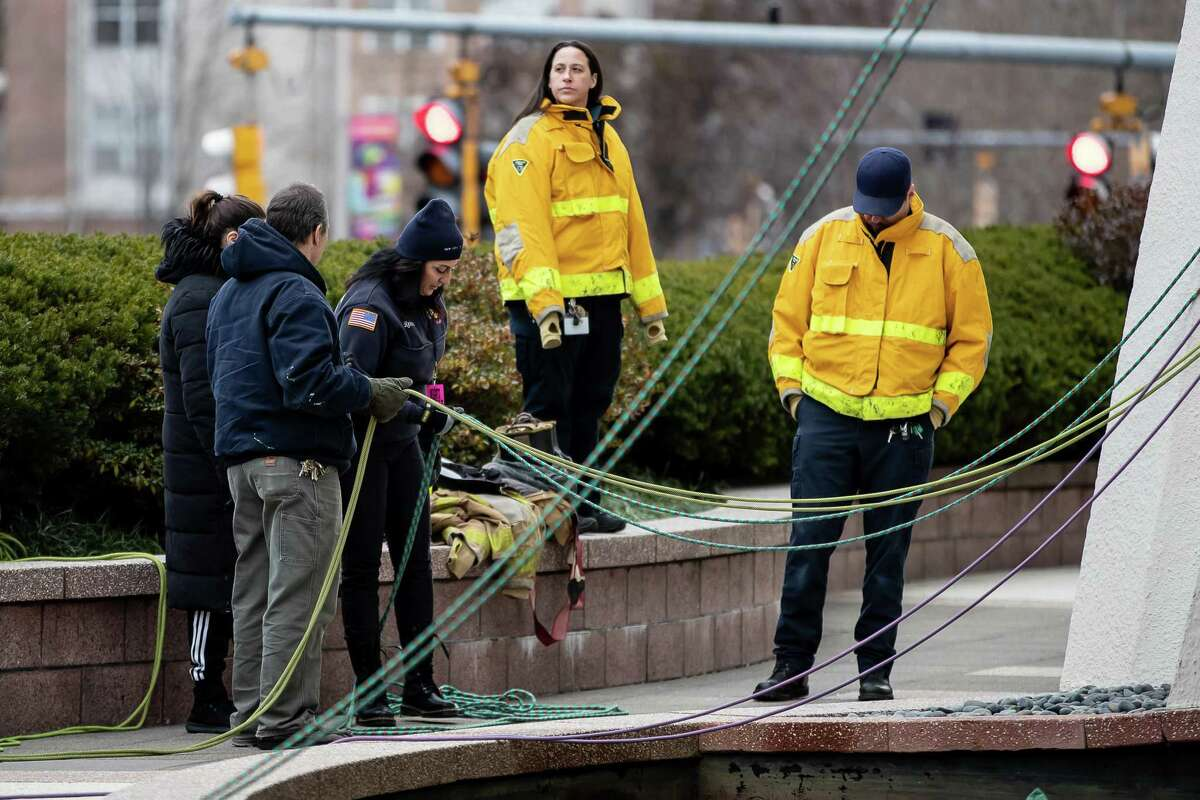 Safety crews made a strong presence during the Heights and Lights Event rehearsals on November 30,2018 at Landmark Square in Stamford, CT.