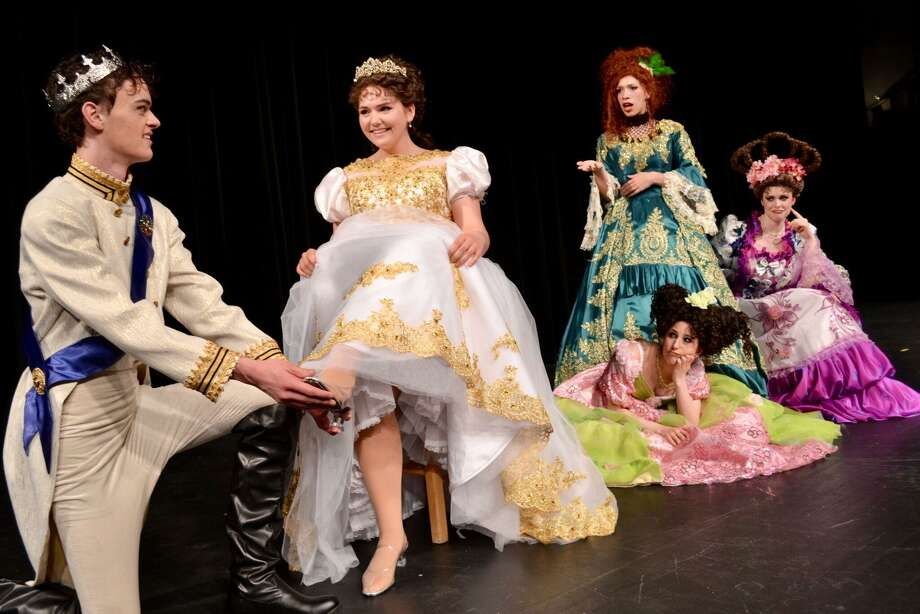 "Wilton High School juniors Joe Apuzzo and Hannah Mikita rehearse a key scene of the 2013 Broadway adaptation of ""Cinderella"" as seniors Jamie Feidner, Allison Farago and Rachel Strazza look on. Photo: Contributed Photo"