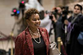 Representative Barbara Lee, a Democrat from California, arrives to a Democratic caucus meeting on Capitol Hill in Washington, D.C., U.S., on Wednesday, Nov. 28, 2018. Nancy Pelosi is poised to clear the first hurdle in her bid to become House speaker when the party holds an internal vote, but her critics will be counting the defectors to see if there are enough to try to block her when the entire chamber votes in January. Photographer: Andrew Harrer/Bloomberg