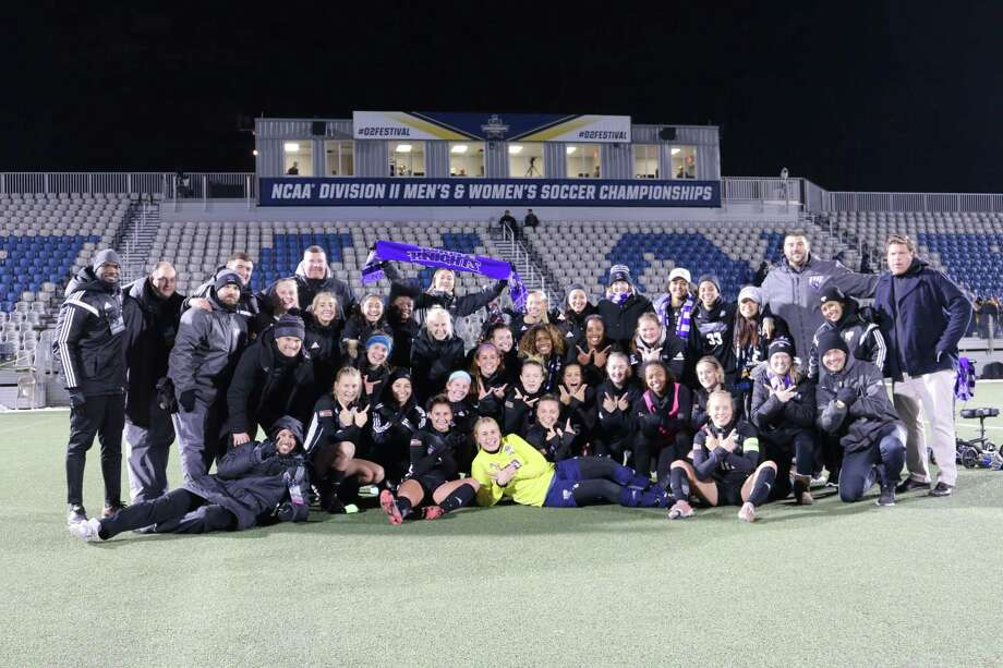 The University of Bridgeport women's soccer team celebrates after advancing to the NCAA Division II national title game with a 2-0 victory over UC-San Diego Thursday. Photo: University Of Bridgeport Athletics
