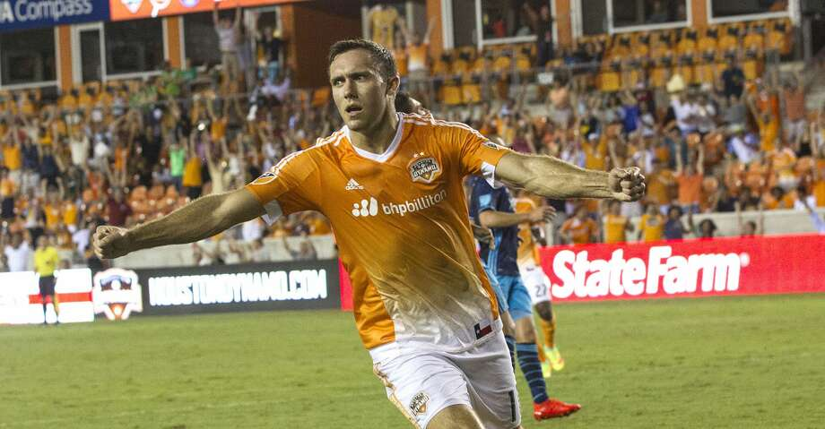 Houston Dynamo forward Andrew Wenger (11) reacts after scoring in the second half putting the team ahead 1-0 on Wednesday, Aug. 24, 2016, in Houston. ( Elizabeth Conley / Houston Chronicle ) Photo: Elizabeth Conley/Houston Chronicle