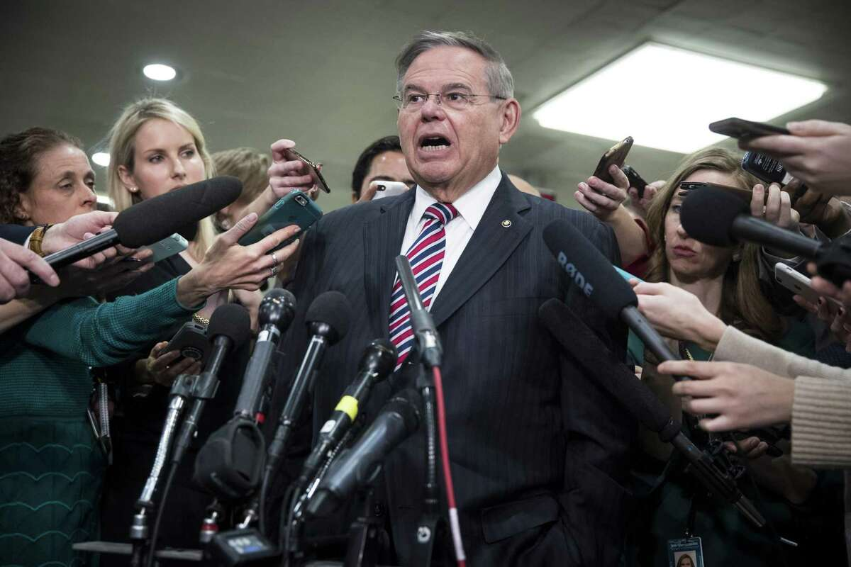Sen. Bob Menendez, D-N.J., speaks to reporters in the Senate Subway after a closed-door, classified briefing with other senators and Trump administration officials on Capitol Hill on Jamal Khashoggi. A reader says the president is acting courageously on this issue.