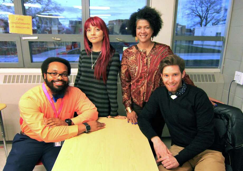 "Teachers that are part of the group Educators For Excellence meet at Central High School in Bridgeport, Conn. on Thursday Nov. 29, 2018. From left to right are teachers Ryan Brown, Katherine Bucheli, Sheree Baldwin-Muhammad and Rob Vogelpohl. These were some of the members of the group that got together to write a white paper entitled: ""Students Today, Educators Tomorrow,"" which deals with the lack of diversity in Bridgeport's teaching ranks and what to do about it. Photo: Christian Abraham / Hearst Connecticut Media / Connecticut Post"