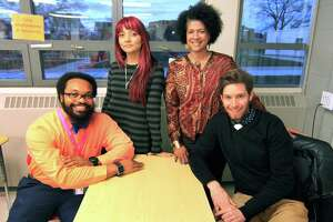 "Teachers that are part of the group Educators For Excellence meet at Central High School in Bridgeport, Conn. on Thursday Nov. 29, 2018. From left to right are teachers Ryan Brown, Katherine Bucheli, Sheree Baldwin-Muhammad and Rob Vogelpohl. These were some of the members of the group that got together to write a white paper entitled: ""Students Today, Educators Tomorrow,"" which deals with the lack of diversity in Bridgeport's teaching ranks and what to do about it."