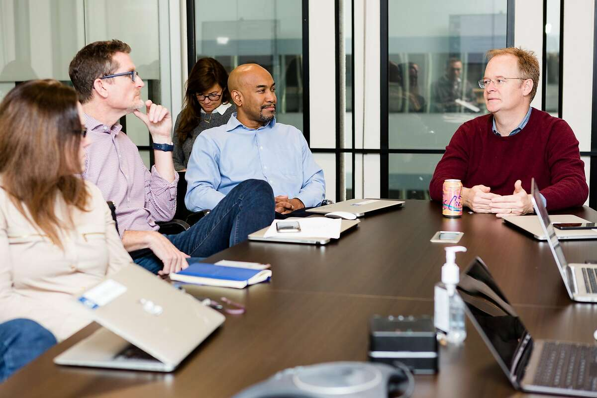 Chief Marketing Officer Jennifer Nuckles (left), Chief Financial Officer Jeff McCombs, Chief Medical Officer Ian Tong, and Chief Executive Officer Hill Ferguson during the Doctor on Demand weekly leadership meeting at the San Francisco, California headquarters of Doctor on Demand on Wednesday, November 14, 2018.