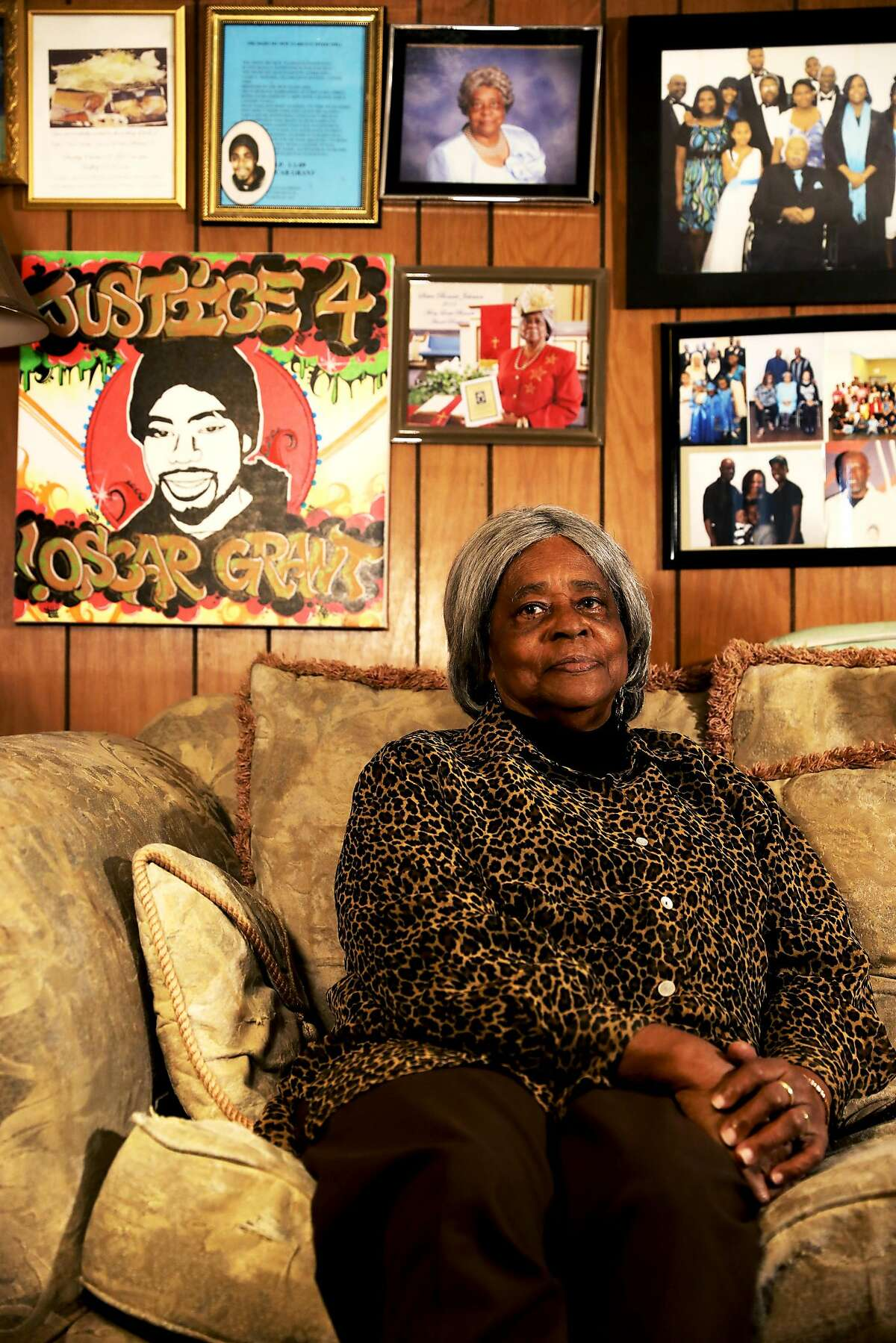 """Bonnie Johnson poses for a portrait in her home in Hayward, Calif., on Thursday, November 15, 2018. Johnson is the maternal grandmother of the late Oscar Grant, who was fatally shot on the Fruitvale BART Station platform by BART officer Johannes Mehserle on January 1, 2009. """"Anger will get you nowhere,"""" Johnson said. """"All I can do is say that when someone do something in life, in this case a life was taken, that person, I pray for them, too, because they gotta face their maker just like I have to face mine. And I pray for Mehserle all the time."""""""