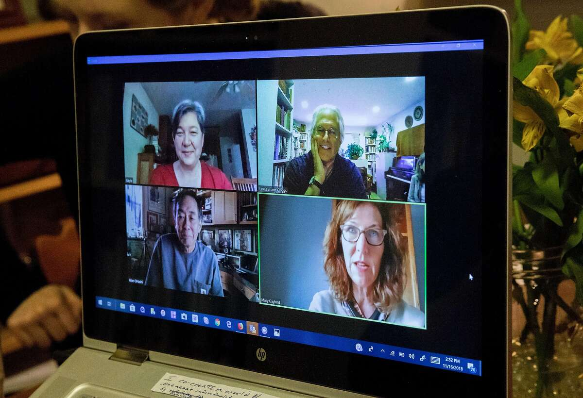 Lewis Brown Griggs moderates Living Room Conversations, a video conference call with people from across the country with various political views, while at his home in Berkeley, Calif. Friday, Nov. 16, 2018.