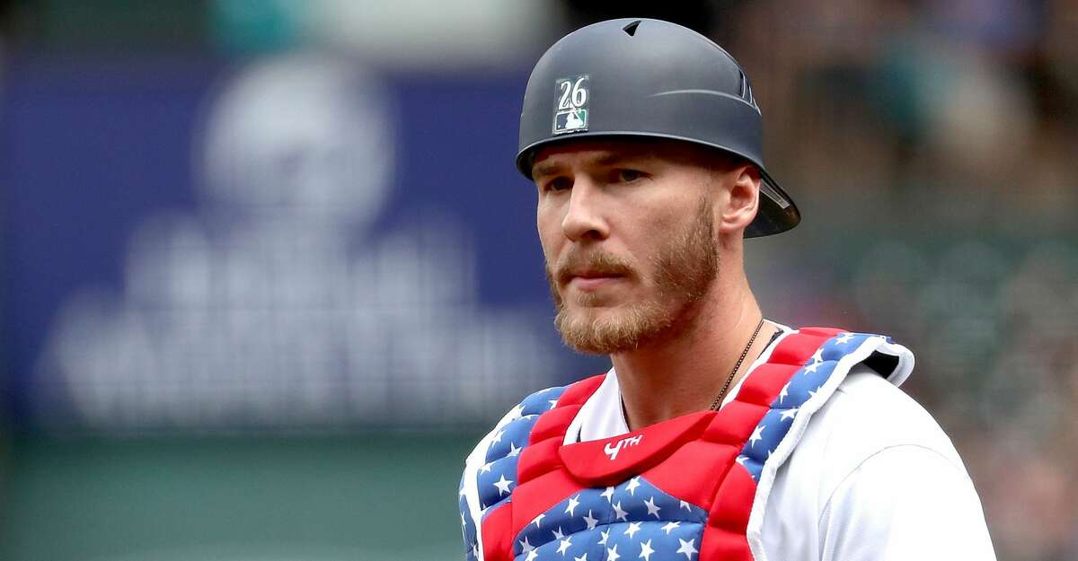 SEATTLE, WA - JULY 04: Chris Herrmann #26 of the Seattle Mariners looks on in the first inning against the Los Angeles Angels of Anaheim during their game at Safeco Field on July 4, 2018 in Seattle, Washington. (Photo by Abbie Parr/Getty Images)