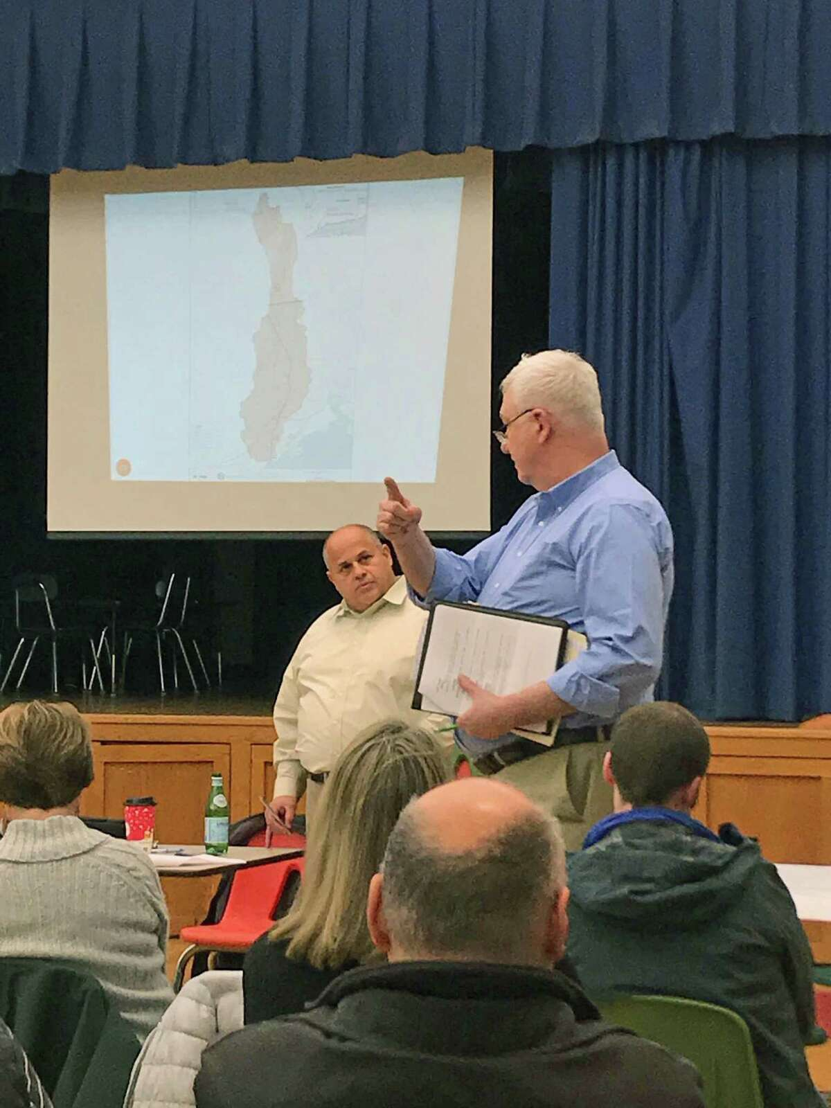Keith Bradley, of Fairfield, explains struggles with flooding to Fairfield Director of Public Works Joseph Michelangelo at a meeting on Nov. 29, 2018, to discuss the Sept. 25, 2018, storm that flooding many Bridgeport and Fairfield, Conn., residents.