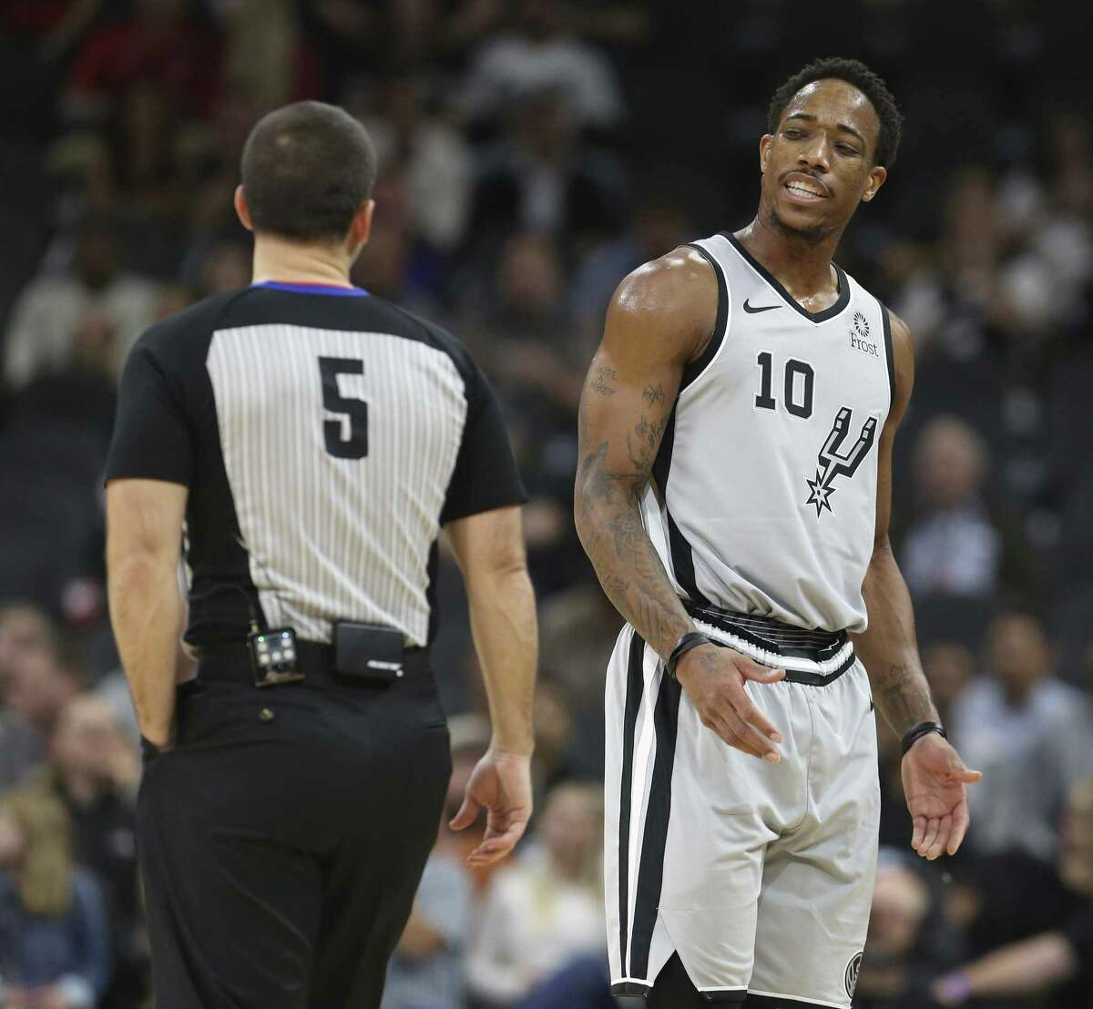 The Spurs' DeMar DeRozan reacts after he was called for a flagrant foul in the first half. DeRozan finished with 18 points.