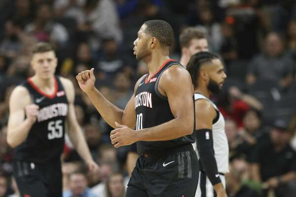 Houston Rocket's Eric Gordon (10) reacts after scoring on a foul against the Spurs in the first half at the AT&T Center on Friday, Nov. 30, 2018. (Kin Man Hui/San Antonio Express-News)
