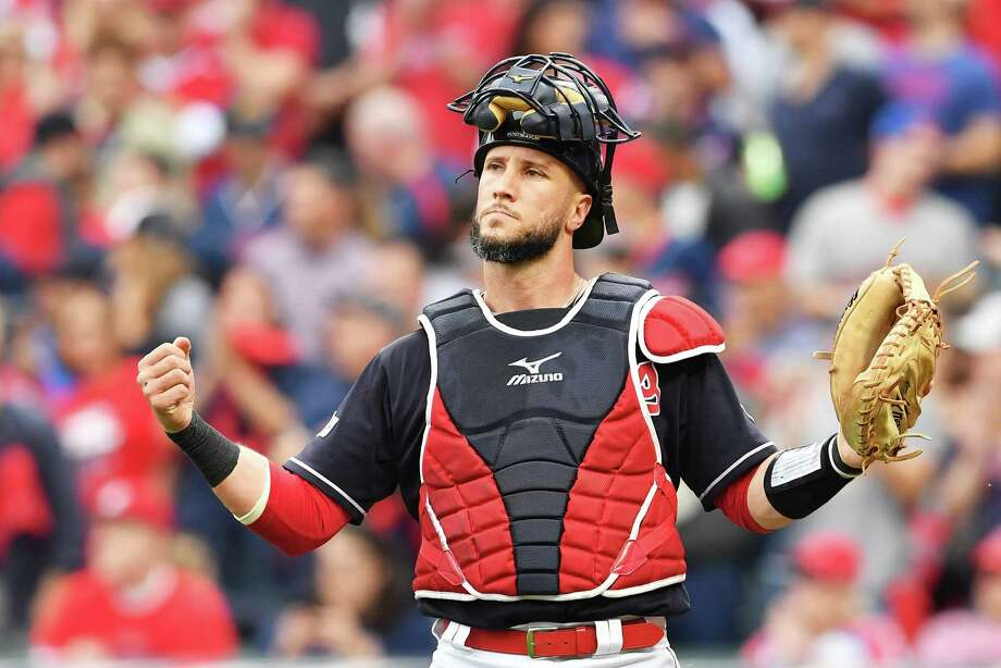 CLEVELAND, OH - OCTOBER 06:  Yan Gomes #7 of the Cleveland Indians reacts first inning against the New York Yankees during game two of the American League Division Series at Progressive Field on October 6, 2017 in Cleveland, Ohio.  (Photo by Jason Miller/Getty Images) ORG XMIT: 775053729 Photo: Jason Miller / 2017 Getty Images