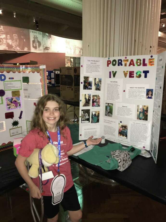"Har-Bur Middle School 5th grader Corinne Sutula was asked by the CT Science Center in Hartford to have her award-winning ""Portable IV Vest"" invention on display throughout the month of November. Photo: Contributed Photo"