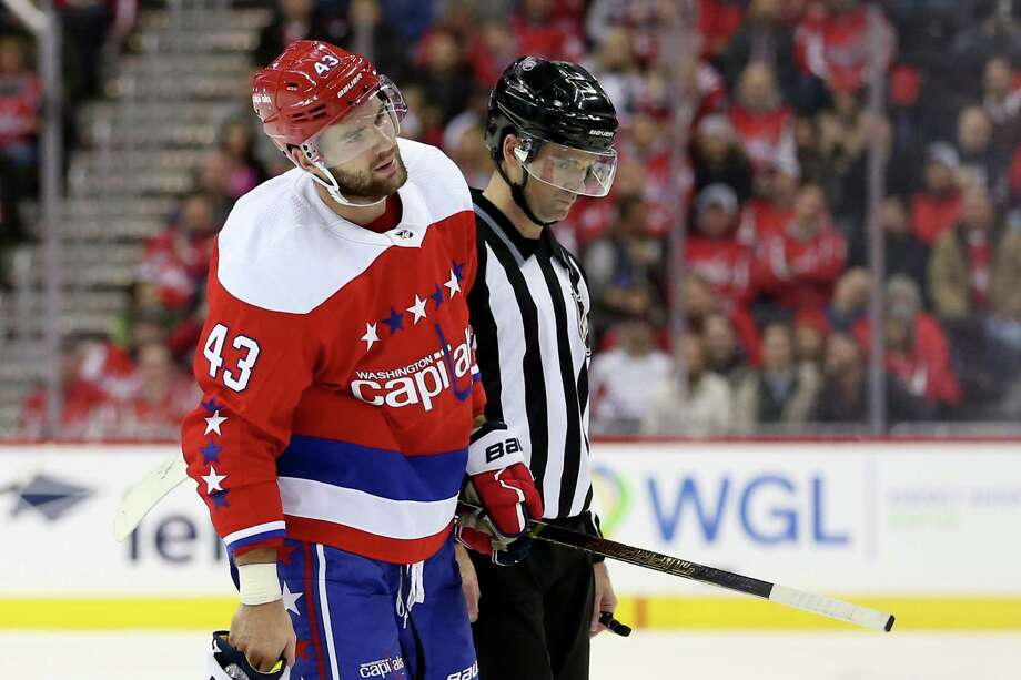 WASHINGTON, DC - NOVEMBER 30: Tom Wilson #43 of the Washington Capitals is taken off the ice after a penalty during the second period against the New Jersey Devils at Capital One Arena on November 30, 2018 in Washington, DC. (Photo by Will Newton/Getty Images) Photo: Will Newton / 2018 Getty Images