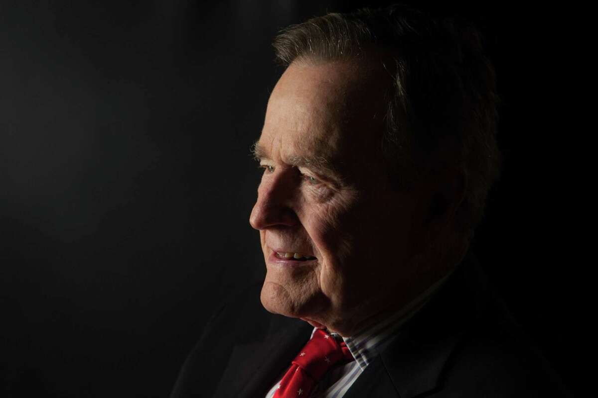 Former President George H.W. Bush is interviewed for 'The Presidents' Gatekeepers' project about the White House chiefs of staff at the Bush Library on Oct. 24, 2011, in College Station, Texas.