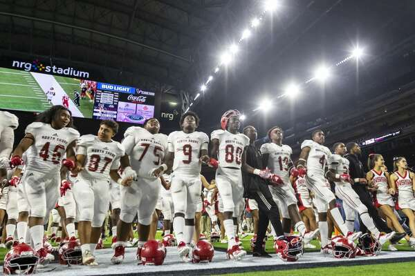 North Shore is shown on the field singing the school song after defeating Katy 49-38 in a Class 6A Div. I Semi-Final high school football playoff game at NRG Stadium on Friday, Nov 30, 2018, in Houston.