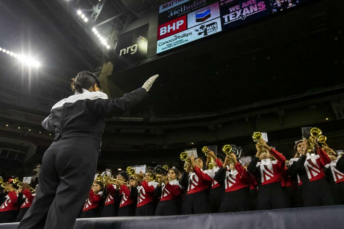 The North Shore is shown preforming in the stands before a Class 6A Div. I Semi-Final high school football playoff game at NRG Stadium on Friday, Nov 30, 2018, in Houston.