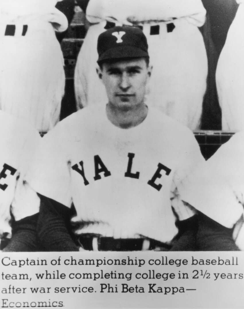 circa 1946: Portrait of future U.S. president George Bush wearing his team jersey and cap as captain of his college baseball team, Yale University, Connecticut. (Photo by Consolidated News Pictures/Getty Images)