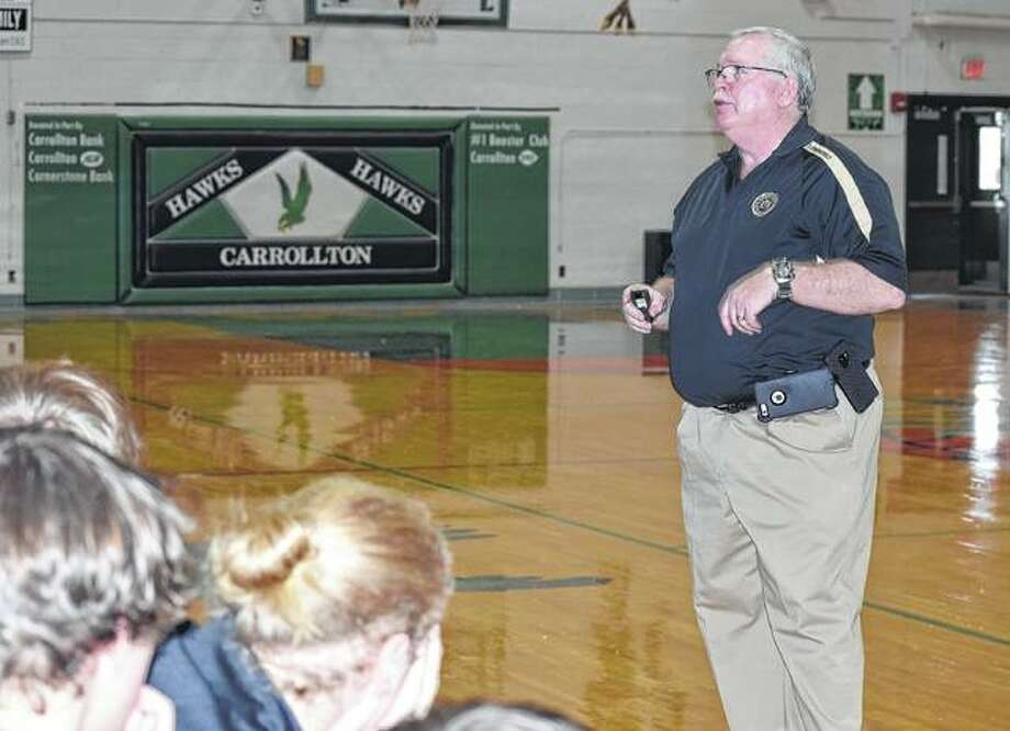 Brad Ware, a public affairs specialist with the FBI Springfield division, speaks Fridayto students at Carrollton High School about safety precautions to take when using social media. Photo: Samantha McDaniel-Ogletree | Journal-Courier