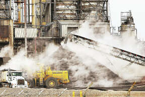 There was a steaming pile of petroleum coke this week next to a cracking unit at the Valero Energy refinery in Hartford. The very high carbon, solid material is sold off and after further processing is often used by the steel and aluminum industries.