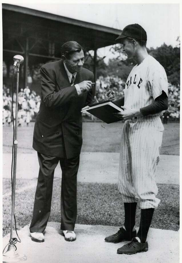 "George H.W. Bush welcomes ""Babe"" Ruth at a pre-game ceremony at the Yale University Field in June 1948. Bush was then captain of the 1948 varsity team. It was one of Ruth's last public appearances as he died later that summer. The photo notes it was donated to the New Haven Register on May 31, 1991 by the Yale University Office of Official Affairs. Photo: New Haven Register / Hearst Connecticut Media File Photo"