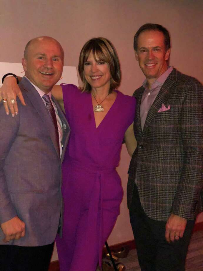 Greenwich residents and sports anchors Hannah Storm and Dan Hicks, right, at JHouse with Tony Capasso of Tony's. | File photo Photo: Contributed /