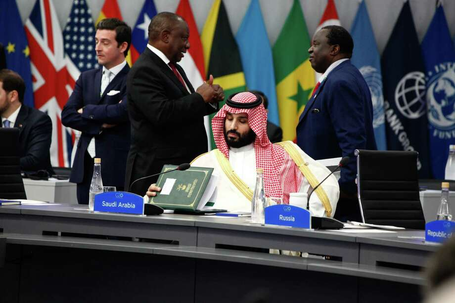 Mohammed Bin Salman, Saudi Arabia's crown prince, center, attends a meeting at the G-20 Leaders' Summit in Buenos Aires, Argentina, on Friday. Photo: Bloomberg Photo By Erica Canepa / © 2018 Bloomberg Finance LP