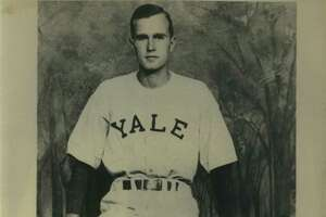 George Bush, Yale Class of 1948, in baseball uniform. Bush was on the university's baseball team for three years, and was captain in his senior year.