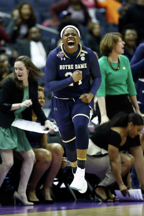 Arike Ogunbowale of the Notre Dame Fighting Irish celebrates after hitting a 3-point basket against the UConn Huskies late in the second half in the semifinals of the NCAA Women's Final Four at Nationwide Arena on March 30 in Columbus, Ohio. Notre Dame defeated the UConn 91-89. The two teams meet Sunday in a rematch. Photo: Andy Lyons / Getty Images / 2018 Getty Images