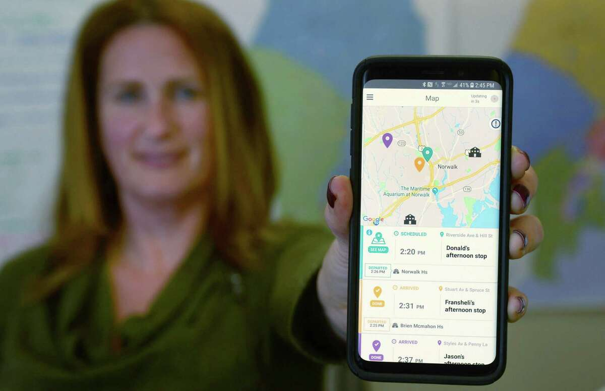 Norwalk school district is partnering with First Student, a transportation company that created a bus tracking app called First View. The First View app shows parents when their child?'s bus arrives to school Johanna Zanvettor, Transporation Coordinator for Norwalk Public Schools, displays the First View app Friday, November 30, 2018, at her office at City Hall in Norwalk Conn. The First View app shows parents when their child?'s bus arrives to school and when it leaves school. The school district is partnering with First Student, the transportation company that created the bus tracking app that also can send customized alerts when the bus is a certain number of minutes away from dropping the student off at their designated bus stop. The school district plans to roll out the app in December.