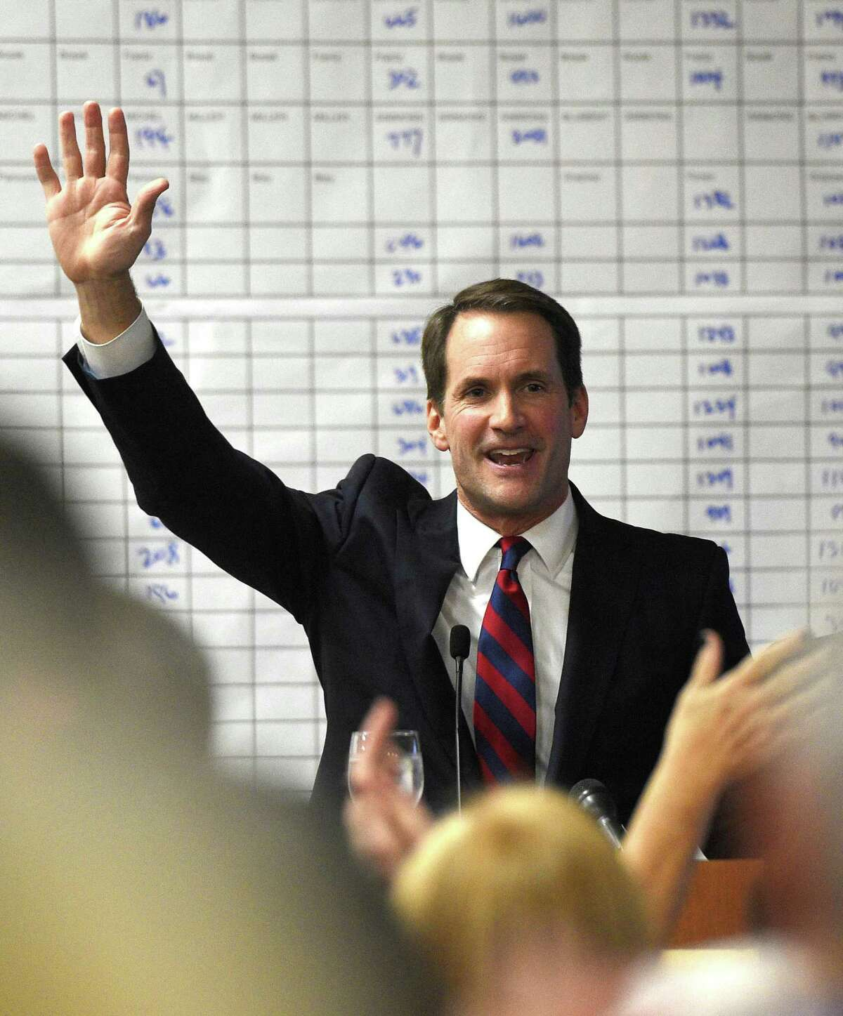 U.S. Rep. Jim Himes speaks during the Democratic Election Night Watch Party at the Sheraton Stamford Hotel in Stamford, Conn., Tuesday, Nov. 6, 2018. Incumbent Himes defeated Republican challenger Harry Arora in the battle for Connecticut's 4th Congressional District.